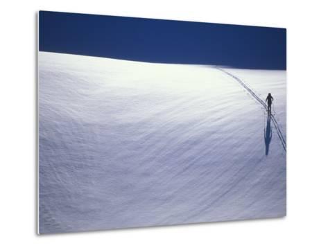 Cross-Country Skiing on a Glacier in Alaska-John Burcham-Metal Print