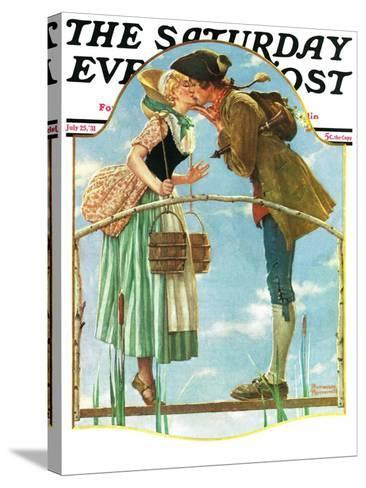 """""""Milkmaid"""" Saturday Evening Post Cover, July 25,1931-Norman Rockwell-Stretched Canvas Print"""
