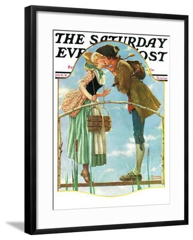 """""""Milkmaid"""" Saturday Evening Post Cover, July 25,1931-Norman Rockwell-Framed Art Print"""