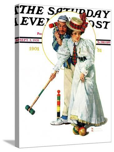 """""""Croquet"""" or """"Wicket Thoughts"""" Saturday Evening Post Cover, September 5,1931-Norman Rockwell-Stretched Canvas Print"""