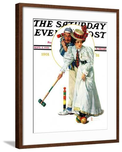 """""""Croquet"""" or """"Wicket Thoughts"""" Saturday Evening Post Cover, September 5,1931-Norman Rockwell-Framed Art Print"""