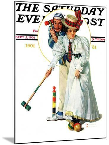 """""""Croquet"""" or """"Wicket Thoughts"""" Saturday Evening Post Cover, September 5,1931-Norman Rockwell-Mounted Giclee Print"""
