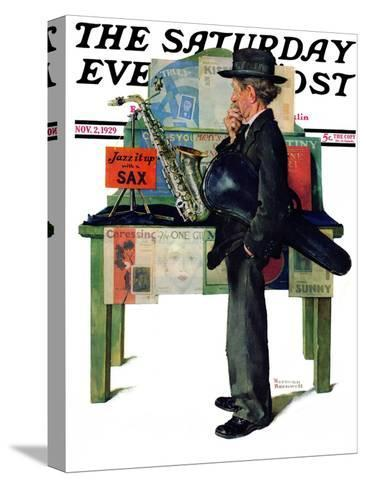 """Jazz It Up"" or ""Saxophone"" Saturday Evening Post Cover, November 2,1929-Norman Rockwell-Stretched Canvas Print"