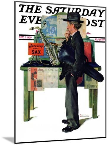 """Jazz It Up"" or ""Saxophone"" Saturday Evening Post Cover, November 2,1929-Norman Rockwell-Mounted Giclee Print"