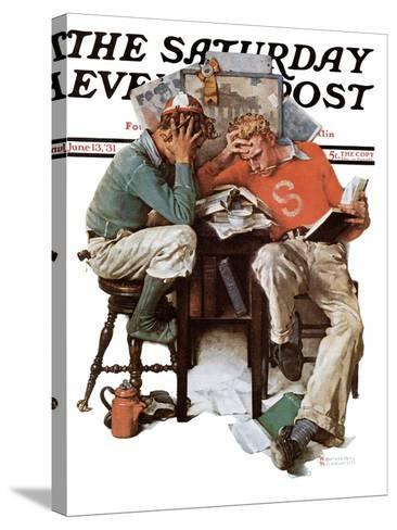 """""""Cramming"""" Saturday Evening Post Cover, June 13,1931-Norman Rockwell-Stretched Canvas Print"""