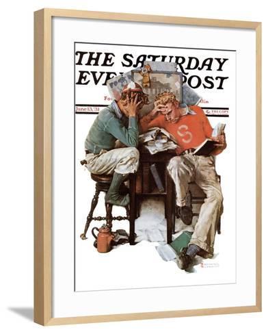 """Cramming"" Saturday Evening Post Cover, June 13,1931-Norman Rockwell-Framed Art Print"