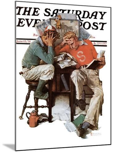 """""""Cramming"""" Saturday Evening Post Cover, June 13,1931-Norman Rockwell-Mounted Giclee Print"""