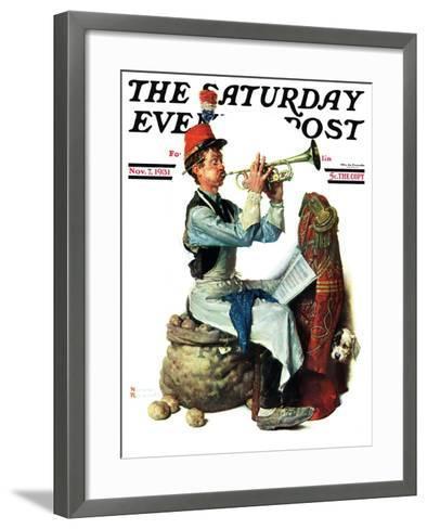 """Trumpeter"" Saturday Evening Post Cover, November 7,1931-Norman Rockwell-Framed Art Print"