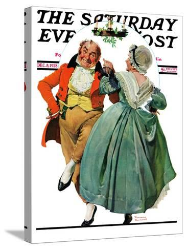"""Christmas Dance"" or ""Merrie Christmas"" Saturday Evening Post Cover, December 8,1928-Norman Rockwell-Stretched Canvas Print"