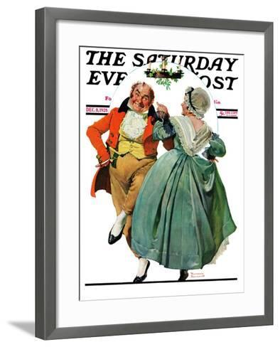 """Christmas Dance"" or ""Merrie Christmas"" Saturday Evening Post Cover, December 8,1928-Norman Rockwell-Framed Art Print"