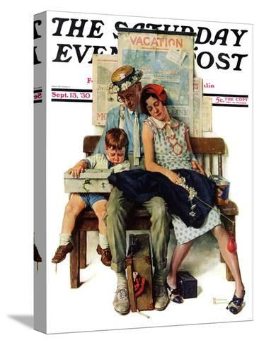 """""""Home from Vacation"""" Saturday Evening Post Cover, September 13,1930-Norman Rockwell-Stretched Canvas Print"""