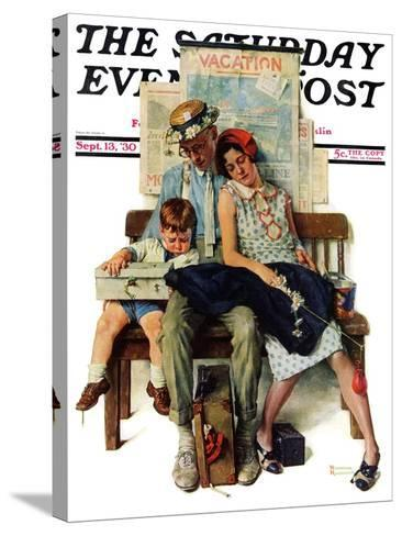 """Home from Vacation"" Saturday Evening Post Cover, September 13,1930-Norman Rockwell-Stretched Canvas Print"