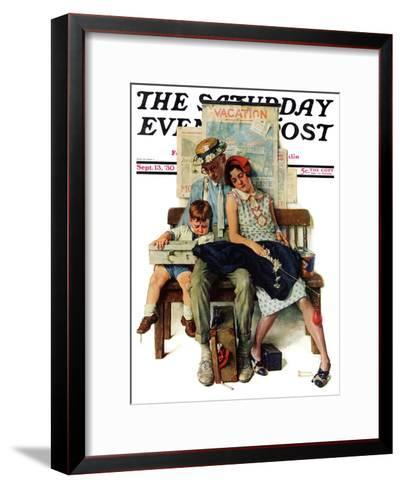 """""""Home from Vacation"""" Saturday Evening Post Cover, September 13,1930-Norman Rockwell-Framed Art Print"""