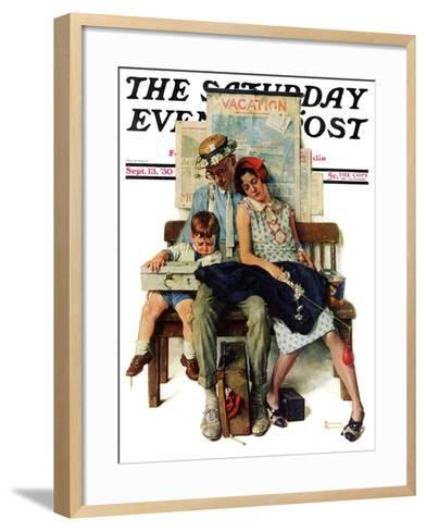 """Home from Vacation"" Saturday Evening Post Cover, September 13,1930-Norman Rockwell-Framed Art Print"