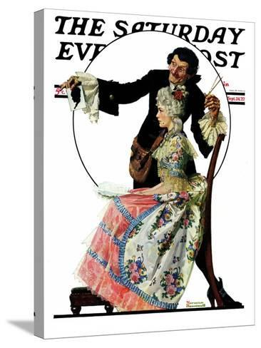 """""""Silhouette Maker"""" Saturday Evening Post Cover, September 24,1927-Norman Rockwell-Stretched Canvas Print"""