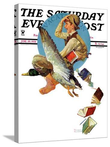 """Summer Vacation, 1934"" Saturday Evening Post Cover, June 30,1934-Norman Rockwell-Stretched Canvas Print"