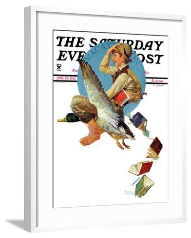 """Summer Vacation, 1934"" Saturday Evening Post Cover, June 30,1934-Norman Rockwell-Framed Art Print"