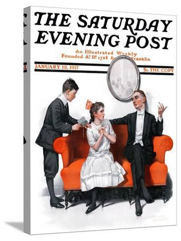 """""""Shall We Dance?"""" Saturday Evening Post Cover, January 13,1917-Norman Rockwell-Stretched Canvas Print"""