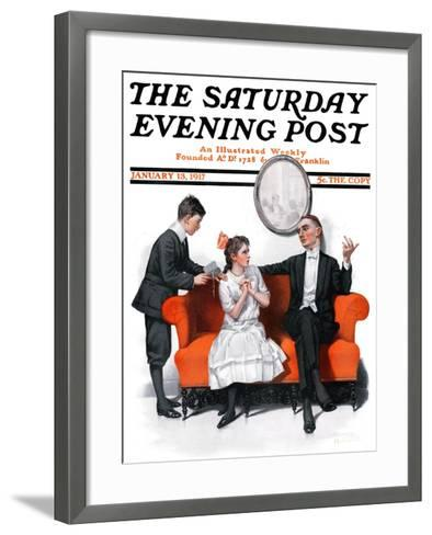"""""""Shall We Dance?"""" Saturday Evening Post Cover, January 13,1917-Norman Rockwell-Framed Art Print"""