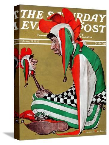 """""""Jester"""" Saturday Evening Post Cover, February 11,1939-Norman Rockwell-Stretched Canvas Print"""