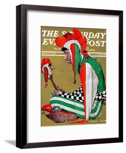 """""""Jester"""" Saturday Evening Post Cover, February 11,1939-Norman Rockwell-Framed Art Print"""