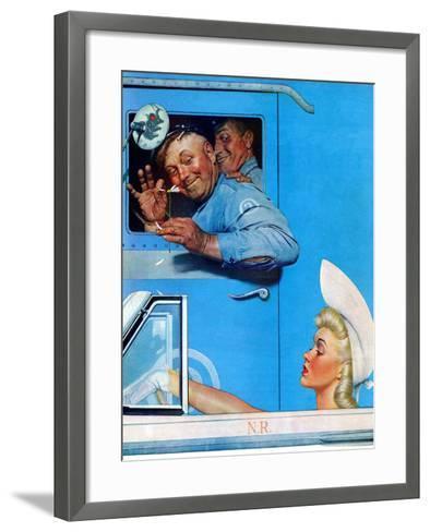 """Two Flirts"", July 26,1941-Norman Rockwell-Framed Art Print"