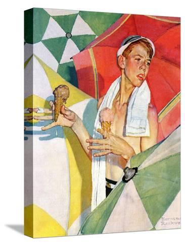 """""""Melting Ice Cream"""" or """"Joys of Summer"""", July 13,1940-Norman Rockwell-Stretched Canvas Print"""
