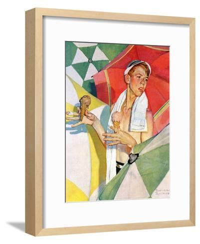 """Melting Ice Cream"" or ""Joys of Summer"", July 13,1940-Norman Rockwell-Framed Art Print"