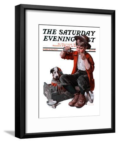 """""""Sick Puppy"""" Saturday Evening Post Cover, March 10,1923-Norman Rockwell-Framed Art Print"""