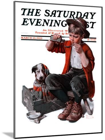 """""""Sick Puppy"""" Saturday Evening Post Cover, March 10,1923-Norman Rockwell-Mounted Giclee Print"""
