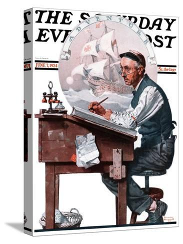 """""""Escape to Adventure"""" Saturday Evening Post Cover, June 7,1924-Norman Rockwell-Stretched Canvas Print"""