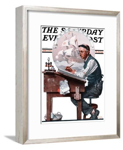 """""""Escape to Adventure"""" Saturday Evening Post Cover, June 7,1924-Norman Rockwell-Framed Art Print"""