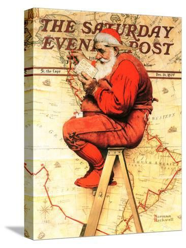 """""""Santa at the Map"""" Saturday Evening Post Cover, December 16,1939-Norman Rockwell-Stretched Canvas Print"""
