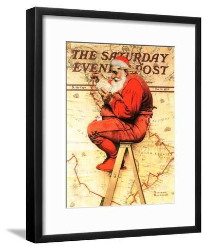 """""""Santa at the Map"""" Saturday Evening Post Cover, December 16,1939-Norman Rockwell-Framed Art Print"""