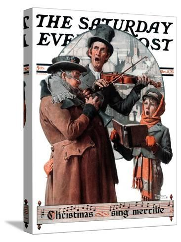 """""""Christmas Trio"""" or """"Sing Merrille"""" Saturday Evening Post Cover, December 8,1923-Norman Rockwell-Stretched Canvas Print"""
