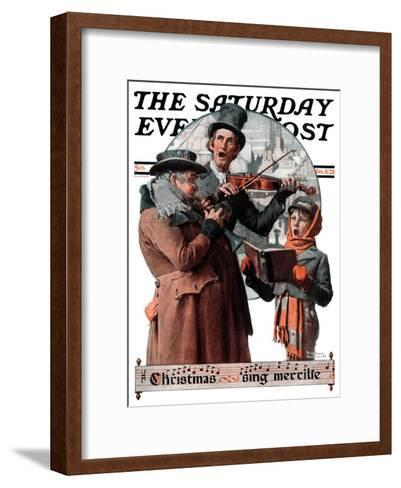 """""""Christmas Trio"""" or """"Sing Merrille"""" Saturday Evening Post Cover, December 8,1923-Norman Rockwell-Framed Art Print"""