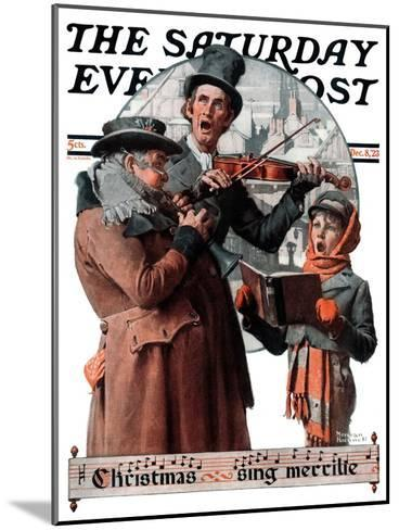 """""""Christmas Trio"""" or """"Sing Merrille"""" Saturday Evening Post Cover, December 8,1923-Norman Rockwell-Mounted Giclee Print"""