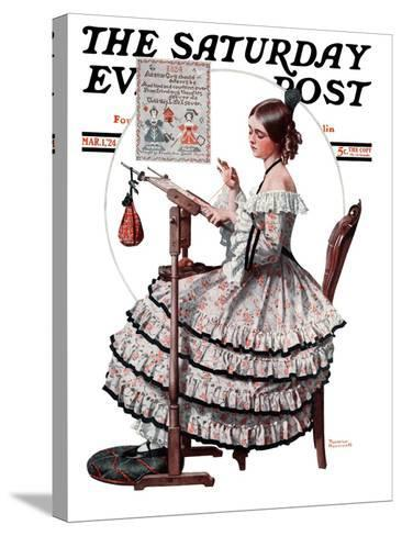 """""""Needlepoint"""" Saturday Evening Post Cover, March 1,1924-Norman Rockwell-Stretched Canvas Print"""
