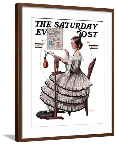 """""""Needlepoint"""" Saturday Evening Post Cover, March 1,1924-Norman Rockwell-Framed Art Print"""