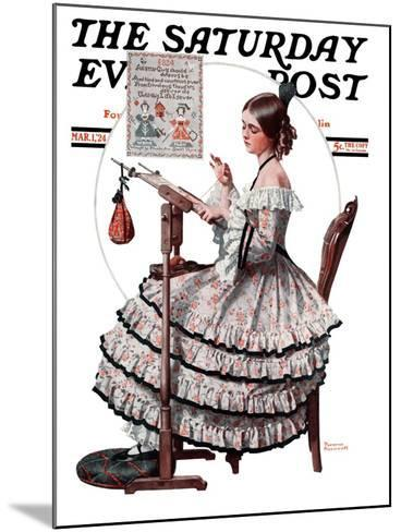 """""""Needlepoint"""" Saturday Evening Post Cover, March 1,1924-Norman Rockwell-Mounted Giclee Print"""