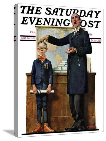 """""""Schoolmaster"""" or """"First in his Class"""" Saturday Evening Post Cover, June 26,1926-Norman Rockwell-Stretched Canvas Print"""