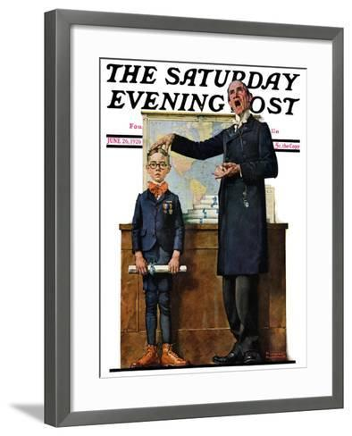 """""""Schoolmaster"""" or """"First in his Class"""" Saturday Evening Post Cover, June 26,1926-Norman Rockwell-Framed Art Print"""
