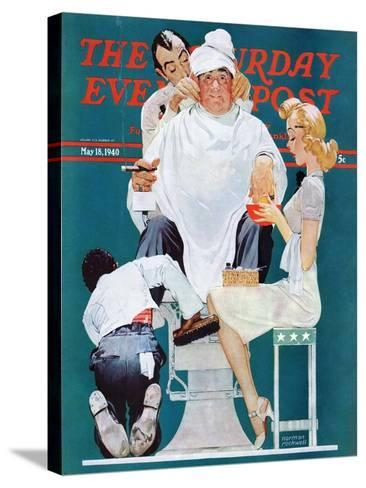 """Full Treatment"" Saturday Evening Post Cover, May 18,1940-Norman Rockwell-Stretched Canvas Print"