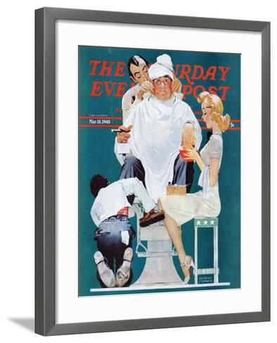 """Full Treatment"" Saturday Evening Post Cover, May 18,1940-Norman Rockwell-Framed Art Print"