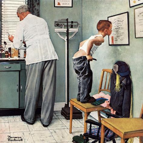 """""""Before the Shot"""" or """"At the Doctor's"""" Saturday Evening Post Cover, March 15,1958-Norman Rockwell-Stretched Canvas Print"""