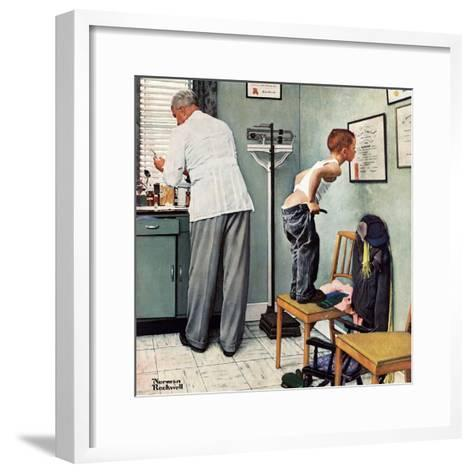 """""""Before the Shot"""" or """"At the Doctor's"""" Saturday Evening Post Cover, March 15,1958-Norman Rockwell-Framed Art Print"""