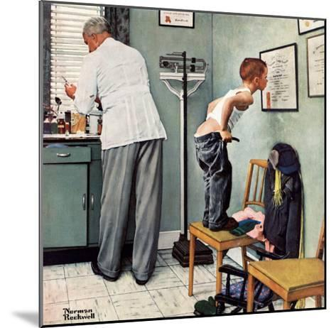 """""""Before the Shot"""" or """"At the Doctor's"""" Saturday Evening Post Cover, March 15,1958-Norman Rockwell-Mounted Giclee Print"""