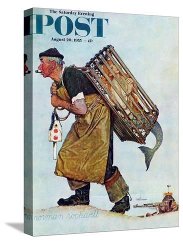 """""""Mermaid"""" or """"Lobsterman"""" Saturday Evening Post Cover, August 20,1955-Norman Rockwell-Stretched Canvas Print"""