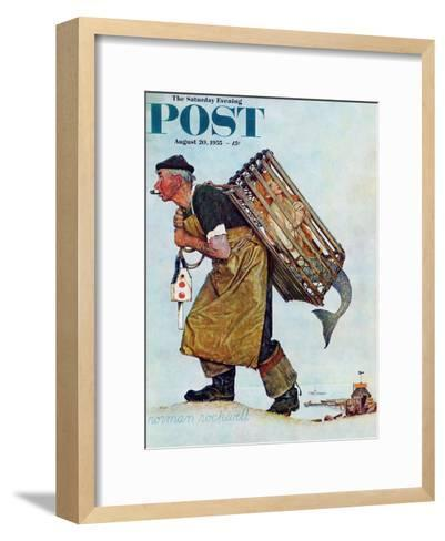 """""""Mermaid"""" or """"Lobsterman"""" Saturday Evening Post Cover, August 20,1955-Norman Rockwell-Framed Art Print"""