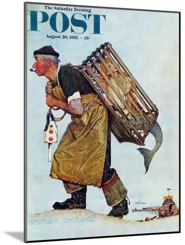 """""""Mermaid"""" or """"Lobsterman"""" Saturday Evening Post Cover, August 20,1955-Norman Rockwell-Mounted Giclee Print"""